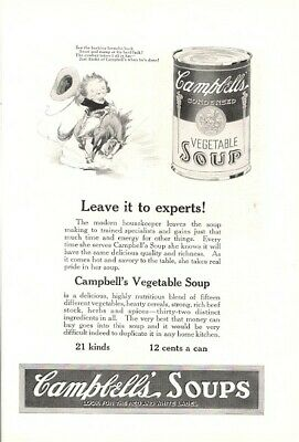 1922 Vintage Ad Campbells Vegetable Soup Leave It To The Experts  • 4.65£