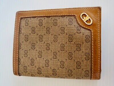 $85 • Buy Vintage GUCCI GG Slim LEATHER CREDIT CARD WALLET Brown 6.5  BY 4  Open