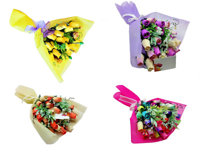 Deluxe Wooden Roses Bouquet - Ideal Gift / Present - Choose Colour Required • 11.99£