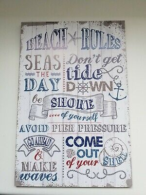 Beach Rules Wooden Hanging Wall Sign • 7.95£