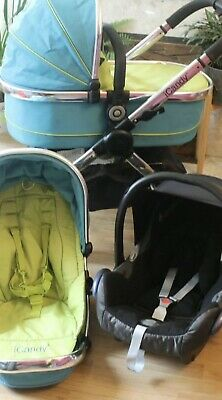 Lovely ICANDY PEACH SWEET PEA BLUE PRAM TRAVEL SYSTEM 3 IN 1 MAXI COSI CAR SEAT • 300£