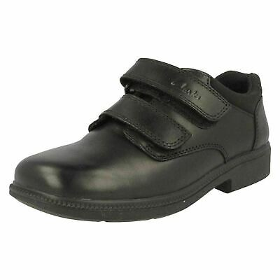 Sale New Boys Clarks Infant Size 8 1/2 F Leather School Shoes Deaton Hook Strap • 18.49£