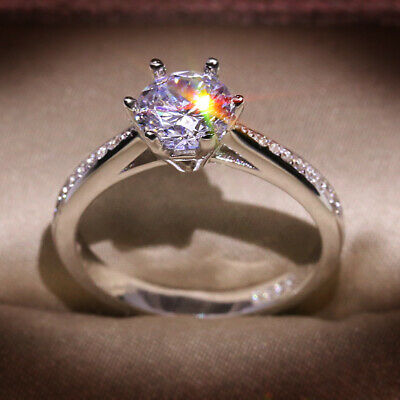 925 Sterling Silver Cubic Zirconia Engagement Ring Women Wedding Rings KYSS02 • 2.61£