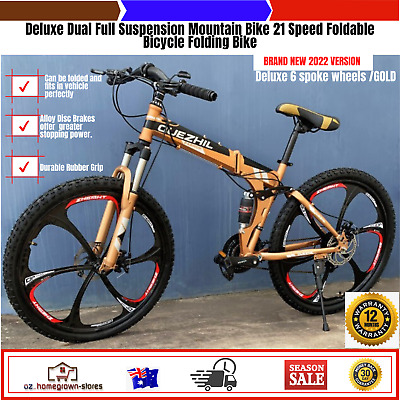 AU651.46 • Buy Deluxe Dual Full Suspension Mountain Bike 21 Speed Foldable Bicycle Folding Bike