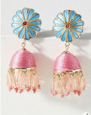 $ CDN47.35 • Buy Anthropologie Yali Dangle Earrings Pink Beads Gold Metal Turquoise Post $48 NWT