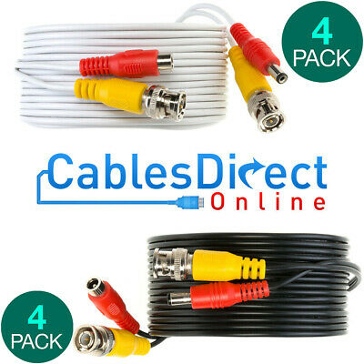$ CDN39.45 • Buy Pack Of 4 CCTV Cable Security Camera Siamese Wire BNC DC Power Video White Black