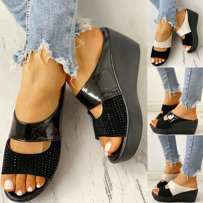 Womens High Heel Open Toe Slippers Wedge Platform Sandals Casual Slip On Shoes • 12.59£