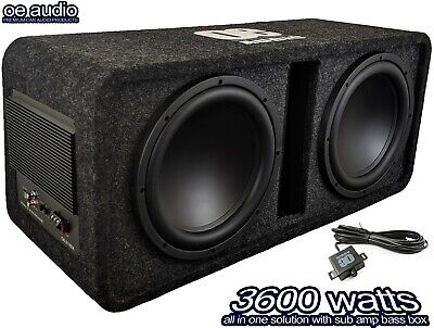 £369.99 • Buy 12  Twin Active Amplified Double Bass Box Sub Car Built In Amp 3600W  CLEARANCE!