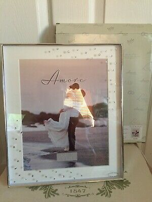 **amore** Crystal Diamante Silver Past Times Style Heavy Photo Frame 8 X 10 Inch • 21.99£