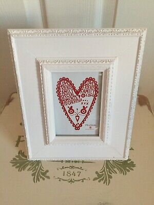 Shabby Chic White Rococo Past Times Style Heavy Standing Photo Frame • 12.99£