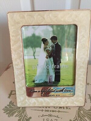 Past Times Style Mother Of Pearl Effect Oblong Heavy Standing Photo Frame • 16.99£