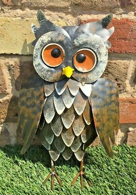 Gazing Brown Owl Garden Ornament Lawn Patio Metal Gift Present Quirky  • 16£
