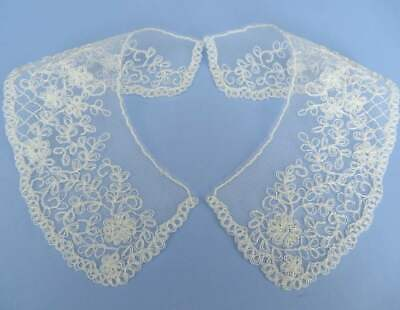 Small Cornelli Embroidered Lace Collars Ivory On Tulle Net • 2.50£