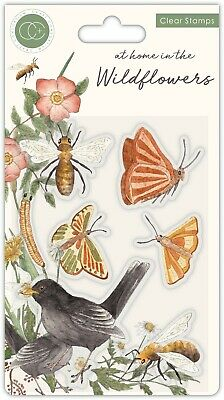 New Craft Consortium Clear Stamps At Home In The Wildflowers - Bees + Butterfly • 6£