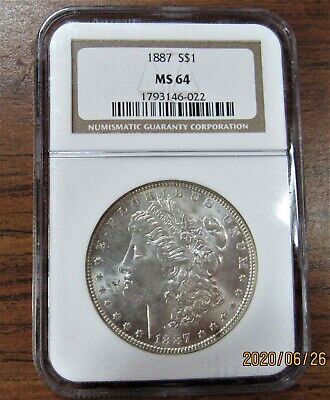 $38 • Buy 1887 Morgan Silver Dollar Ngc Certified Ms-64 Uncirculated