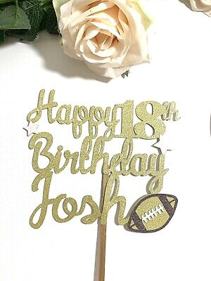 £6.95 • Buy Personalised Rugby Ball Themed Cake Topper Choose Name Age Colour Combination