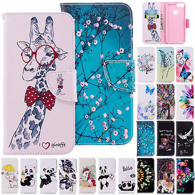 For Huawei Y6 2019 Case Y7 2018 Magnetic Leather Card Holder Stand Phone Cover • 4.95£