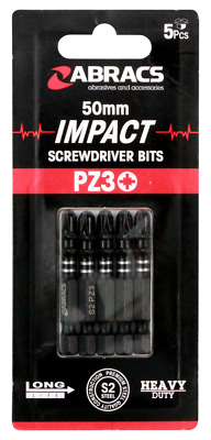 50mm Impact Screwdriver Bits Pz1 Pz2 Pz3 Ph2 Pozi 1 2 3 Head Driver Bit X 5 • 4.50£