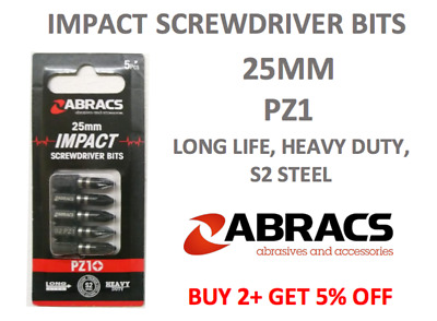 Impact Screwdriver Bits X 5 Pz1 Pozi 1 Head 25mm Screw Driver Bit Pack Of 5 • 3.55£