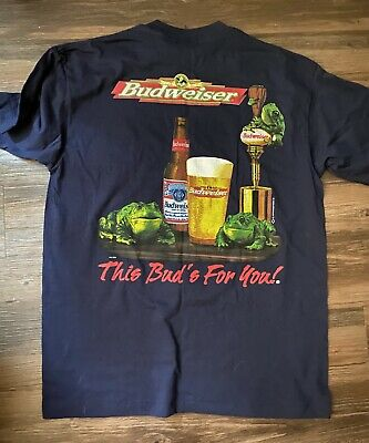 $ CDN46.67 • Buy VTG 90s Budweiser Frogs This Buds For You Shirt Size XL Graphic Bud Light