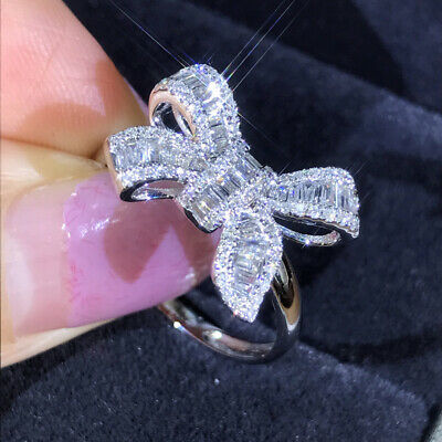 Women's 925 Sterling Silver Cubic Zirconia Bow Ring Wedding Jewellery Size 6-10 • 2.75£