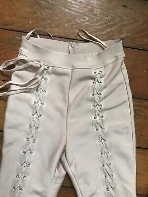 Lace Up Baby Pink Leggings 8-10 Small Medium • 12£