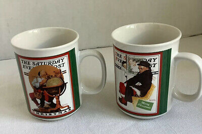 $ CDN16.37 • Buy Set Of Norman Rockwell Saturday Evening Post Christmas Cups Coffee Mugs Cups