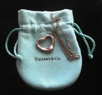 $85 • Buy Tiffany & Co Peretti Open Heart Pendant Necklace Sterling Silver Med. Size 22mm