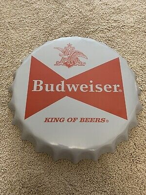 $ CDN37.06 • Buy Budweiser Metal Sign King Of Beers Bottle Cap Anheuser Busch Bud Beers Sold