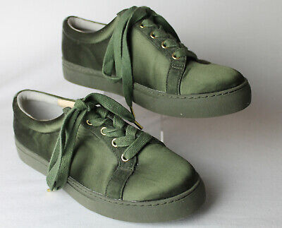 AU35 • Buy Unworn Oroton Silk And Leather Lace Up In Olive Green Size 39 As New