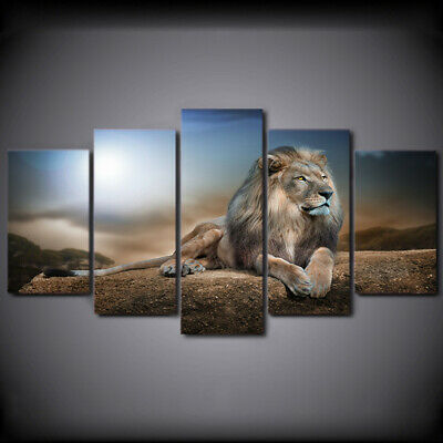 5 Panels Unframed Lion Canvas Art Oil Painting Picture Room Wall Hanging Decor • 16.71£