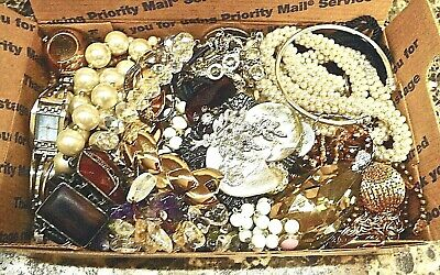 $ CDN55.67 • Buy .99 Vintage To Now Junk Jewelry Lot-unsearched-untested-small Flat Rate Box Full