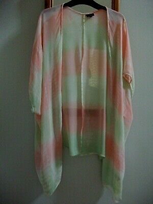 £7 • Buy Topshop Pink Green Tie Dye Kimono Cover Up - Size Small 10 12 14