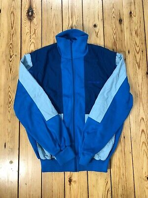 VINTAGE 1980's BLUE ADIDAS JACKET MADE IN WEST GERMANY TRACK TOP SIZE S • 110£