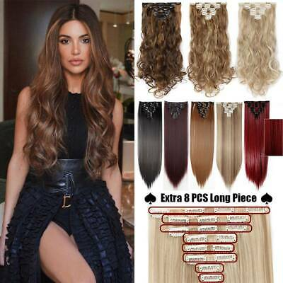 Smooth Clip In 100% Real Natural 8 Pcs Long Wavy As Human Hair Extensions Ombre • 9.51£