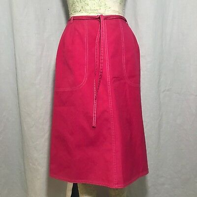 $ CDN52.86 • Buy Vintage 70s Koret Koratron Pink Wrap Skirt Size 12 Pockets Union Made In The USA