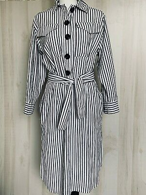 $19.99 • Buy Zara Traf Collection Womens Shirt Dress Striped Belted Size Small White Gray