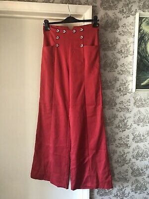 Banned Dancing Days Red Nautical Wide Leg Trousers Anchor Buttons S Rockabilly • 19.99£
