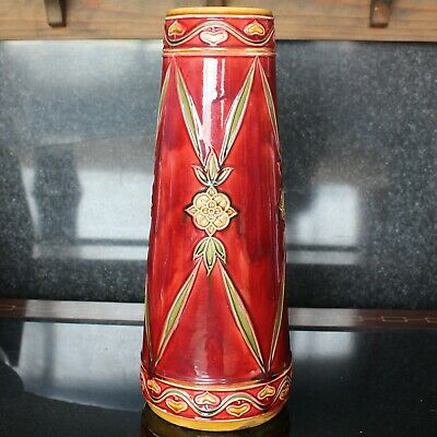 Large MINTON Red Tube Lined Secessionist Vase Reg: 616446 1914 • 225£