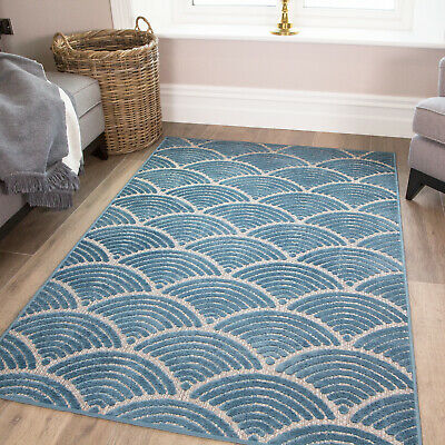 Teal Geometric Rug - Nautical Blue Washable Small Large Rugs Durable Outdoor Mat • 14.95£