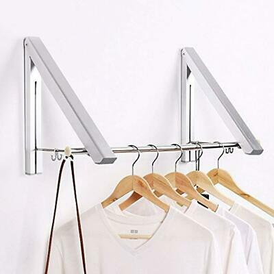 £12.95 • Buy 2 X S/Steel Folding Wall Mounted Retractable Laundry Rack Clothes Coat Hanger