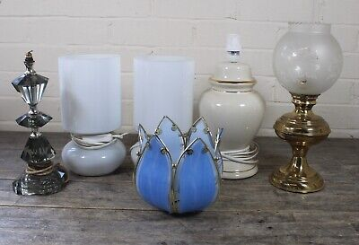 Six Vintage Lamps & Shades To Include Candle Lamp & Capiz Shell Tulip Shade.  • 34.99£