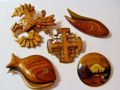 $ CDN20 • Buy Vintage Antique  Hand Carved Made Wood Jewelry Pin Lot 5 Big Pieces