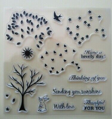 NEW Clear Acrylic Craft Stamps Set - Tree, Leaves, Hearts & Greetings UK SELLER • 3.99£