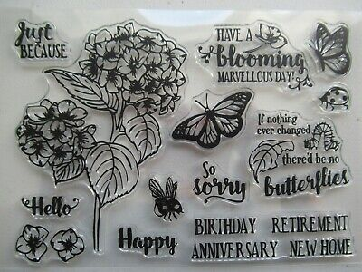 NEW Clear Acrylic Craft Stamp Set Hydrangea Flower & Butterflies + Greetings • 3.89£