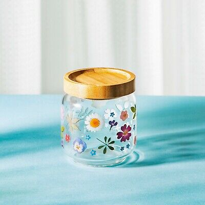 Small Glass Storage Jar, Pressed Flower Design With Bamboo Lid, Sass & Belle • 8.50£