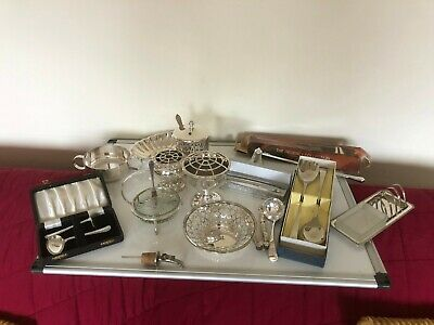 Nice Lot Of Silver Plated Items, Dishes, Spoons, Toast Rack Etc • 75£