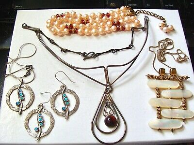 $ CDN40 • Buy 65 Grams Sterling Silver 4 Piece Jewelry Lot Larger Signed Necklaces Set