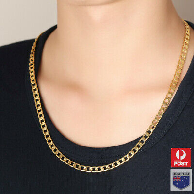 AU6.89 • Buy Men's Boy Stainless Steel 18K Gold GP Curb Cuban Link Chain Necklace Jewelry
