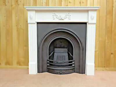Victorian Style Cast Iron Fireplace Insert +  Surround Painted Farrow & Ball  • 425£